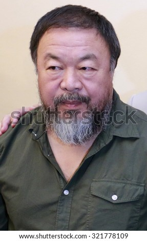 BERLIN, GERMANY - SEPTEMBER 2, 2015: Chinese artist Ai Weiwei before a discussion in the Philharmonie, Berlin.
