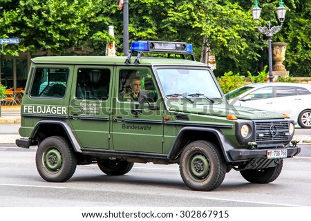 BERLIN, GERMANY - SEPTEMBER 10, 2013: Motor car Mercedes-Benz W461 G-class at the city street.