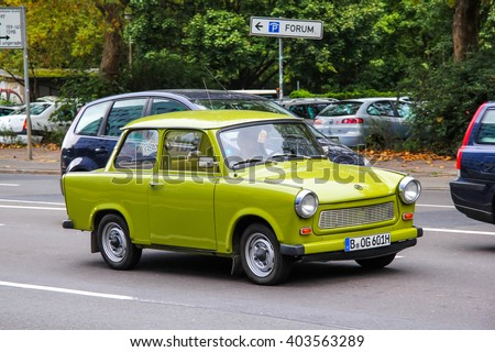 BERLIN, GERMANY - SEPTEMBER 11, 2013: Motor car Trabant 601 in the city street. - stock photo