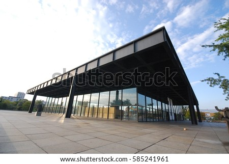 Berlin, Germany - September 2015 - Neue Nationalgalerie in the afternoon