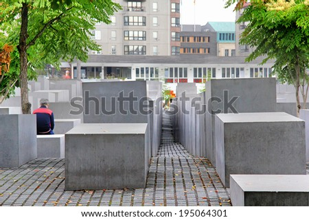 BERLIN, GERMANY - SEPTEMBER 10, 2013: The Memorial to the Murdered Jews of Europe in Berlin, Germany