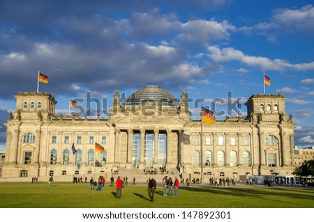 BERLIN, GERMANY -SEPTEMBER 22: The Reichstag building in Berlin, Germany on  September 22, 2012 It was opened in 1894 as a Parliament of the German Empire and work till today.