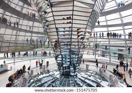 BERLIN, GERMANY - SEPTEMBER 24:Tourists under Reichstag dome, September 24, 2012, Berlin, Germany.After moving of Bundestag to Berlin in 1999 building of Reichstag was visited by over 13 mil. people