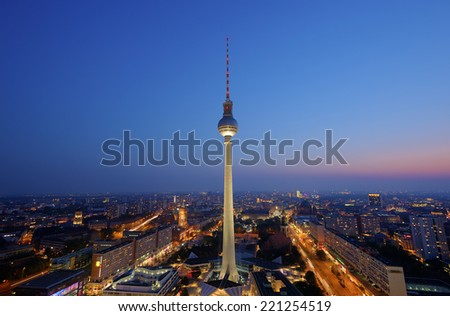 BERLIN, GERMANY - SEPTEMBER 17: View at TV Tower after sundown from the roof of the hotel Park Inn by Radisson Berlin Alexanderplatz, Berlin Mitte, Germany, Europe, Sept 17 2014 - stock photo