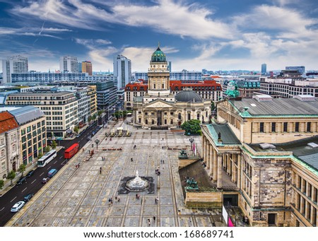 Berlin, Germany skyline over Gendarmenmarkt. - stock photo
