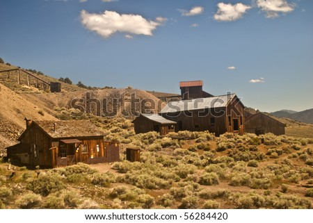 Berlin Ghost Town from Berlin Ichthyosaur State Park outside Reno, Nevada - stock photo