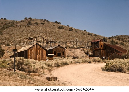 Berlin Ghost Town in Nevada (outside Reno) with shacks and an old ore stamping mill - stock photo