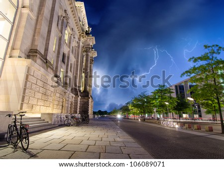 Berlin Government District at Night, side view, Germany - stock photo