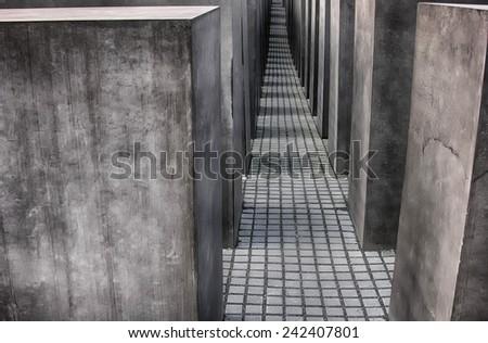Berlin Holocaust memorial. - stock photo