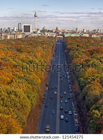 Berlin in Autumn, shot from Siegessaule, Germany - stock photo