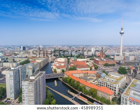 BERLIN - JULY 24, 2016: Aerial view of Central City. Berlin attracts 30 million people annually.