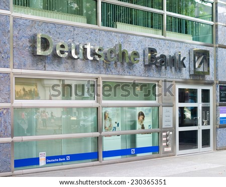 BERLIN - JULY 29, 2014: Branch of Deutsche Bank. Founded in 1870, its founders saw its main purpose as being to finance Germany's foreign trade.  - stock photo