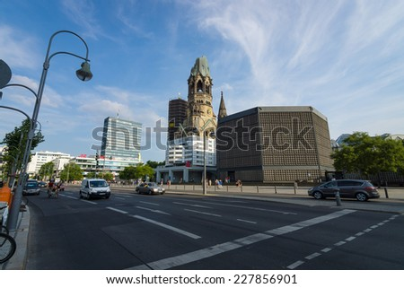 BERLIN - JULY 18, 2014: The Protestant Kaiser Wilhelm Memorial Church on the Kurfurstendamm in the centre of the Breitscheidplatz