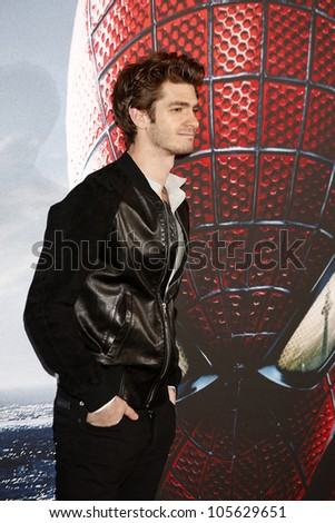 "BERLIN - JUN 20: Andrew Garfield at the photo call for ""The Amazing Spider-Man"" on June 20, 2012 in Berlin, Germany - stock photo"