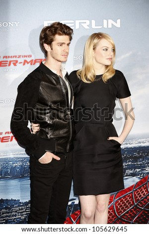 "BERLIN - JUN 20: Andrew Garfield, Emma Stone at the photo call for ""The Amazing Spider-Man"" on June 20, 2012 in Berlin, Germany - stock photo"