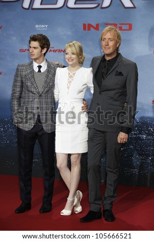 "BERLIN - JUN 20: Andrew Garfield, Emma Stone, Rhys Ifans at the premiere of ""The Amazing Spider-Man"" on June 20, 2012 in Berlin, Germany - stock photo"