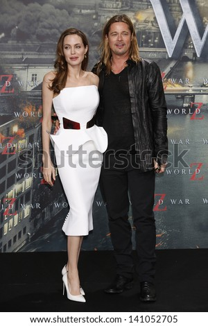 BERLIN - JUN 4: Angelina Jolie, Brad Pitt at the 'WORLD WAR Z' Premiere at Sony Center on June 4, 2013 in Berlin, Germany - stock photo