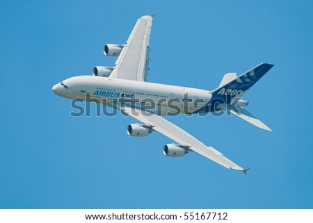 BERLIN - JUNE 11: Airbus A380 exhibition flight at ILA Berlin Air Show on June 11, 2010 in Berlin, Germany - stock photo