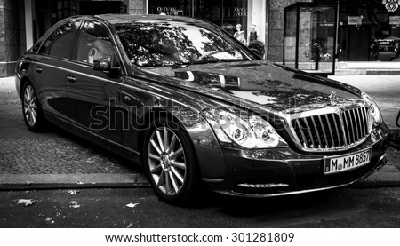 BERLIN - JUNE 14, 2015: Full-size luxury car Maybach 57S. Black and white. The Classic Days on Kurfuerstendamm. - stock photo