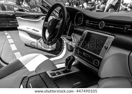BERLIN - JUNE 05, 2016: Interior of full-size luxury car Maserati Quattroporte VI, since 2013. Black and white. Classic Days Berlin 2016