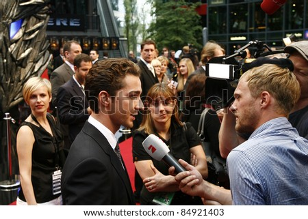BERLIN - JUNE 14: Shia LaBeouf attends the German premiere of 'Transformers: Revenge Of The Fallen' at the Sony Center CineStar on June 14, 2009 in Berlin, Germany - stock photo