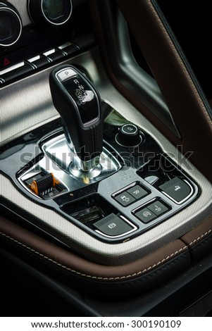 BERLIN - JUNE 14, 2015: Shift knob of the sports car Jaguar F-Type V8S Convertible (since 2013). Close-up. The Classic Days on Kurfuerstendamm.