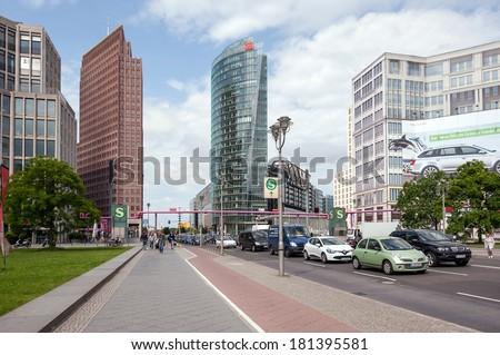 BERLIN - JUNE 3, 2013: Traffic in Potsdamer Platz. The Potsdamer Platz is the new modern city center of Berlin.  - stock photo