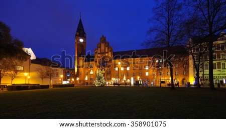 Berlin Koepenick townhall night in christmas time