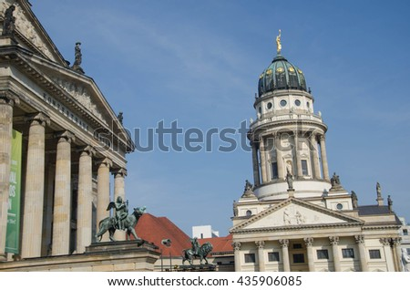 BERLIN, MAR 17: Architectural details at the Gendarmenmarkt on March 17, 2015 in Berlin. The Gendarmenmarkt, with the Konzerthaus and the twin cathedrals, is one of the most visited places in Berlin