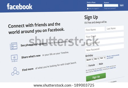 BERLIN - MAR 26, 2014: Facebook sign up page via apple iMac. The biggest social network in the world. Was founded in 2004 by Mark Zuckerberg. - stock photo