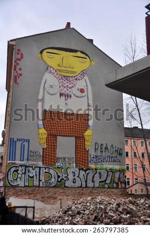 BERLIN â?? MARCH 6: Graffiti House in Easten Berlin (Berlin is the most popular city among graffiti artists) on March 6, 2015 in Berlin. - stock photo