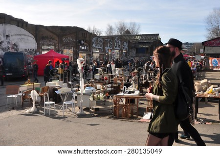 BERLIN - March 1st: Flowmarkt (flea market). Taking place from April till October on every first and third Sunday on March 1 2015 in Berlin, Germany. - stock photo