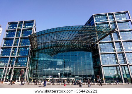 BERLIN - March 18, 2015. The central train station in Berlin. Berlin - Hauptbahnhof.