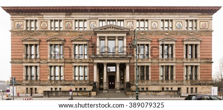 """BERLIN, 11 MARCH: The """"Martin-Gropius-Bau"""" building on March 11, 2016 in Berlin. Listed as historical monument since 1966, a well-known Berlin exhibition hall located in Berlin Mitte - Kreuzberg. - stock photo"""