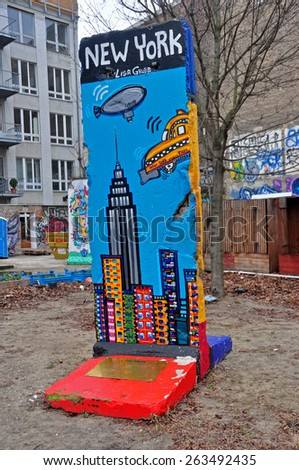 BERLIN? MARCH 6: The part of Berlin Wall. Berlin Wall (German: Berliner Mauer) was a barrier that divided Berlin from 1961 to 1989 March 6, 2015 in Berlin. - stock photo