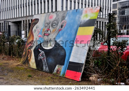 BERLIN MARCH 6: The part of Berlin Wall. Berlin Wall (German: Berliner Mauer) was a barrier that divided Berlin from 1961 to 1989 March 6, 2015 in Berlin. - stock photo