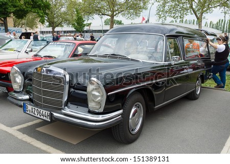 BERLIN - MAY 11: Car hearse Mercedes-Benz W108, 26th Oldtimer-Tage Berlin-Brandenburg, May 11, 2013 Berlin, Germany - stock photo