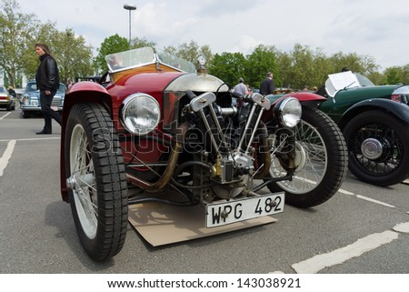 BERLIN - MAY 11: Car Morgan, V-Twin three-wheelers, 26th Oldtimer-Tage Berlin-Brandenburg, May 11, 2013 Berlin, Germany