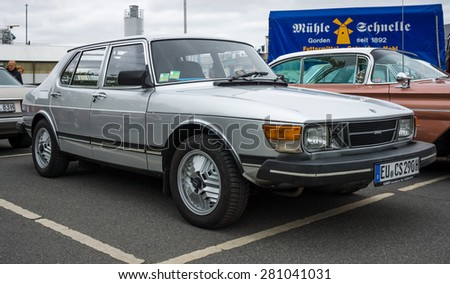 BERLIN - MAY 10, 2015: Compact executive car Saab 900. The 28th Berlin-Brandenburg Oldtimer Day - stock photo