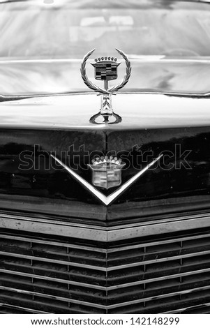 BERLIN - MAY 11: Detail of the radiator grille and emblem Cadillac Coupe de Ville (black and white), 26th Oldtimer-Tage Berlin-Brandenburg, May 11, 2013 Berlin, Germany - stock photo