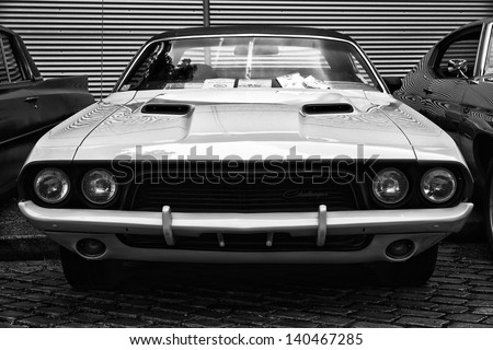 BERLIN - MAY 11: Dodge Challenger (Black and White), 26. Oldtimer-Tage Berlin-Brandenburg, May 11, 2013 Berlin, Germany - stock photo