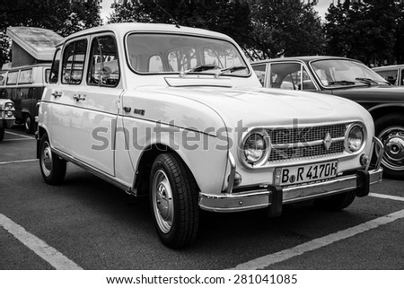 BERLIN - MAY 10, 2015: Economy car Renault 4. Black and white. The 28th Berlin-Brandenburg Oldtimer Day - stock photo