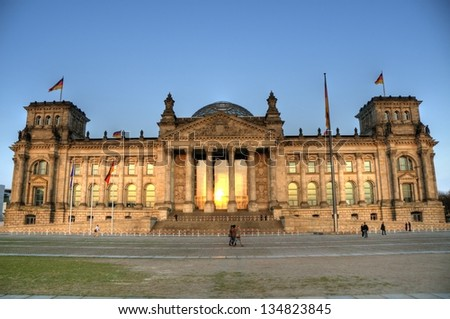 BERLIN - MAY 14: Facade of Reichstag building May 14, 2009 in Berlin, Germany