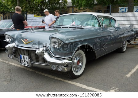 BERLIN - MAY 11: Full-size luxury car Cadillac Sixty-Two Coupe de Ville, 26th Oldtimer-Tage Berlin-Brandenburg, May 11, 2013 Berlin, Germany - stock photo