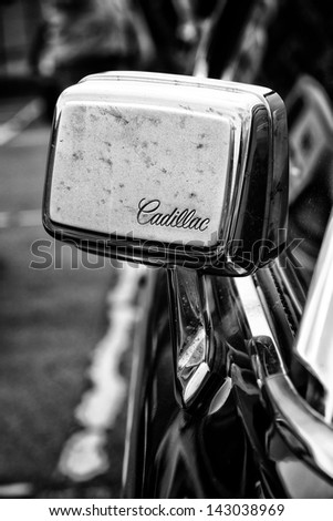 BERLIN - MAY 11: Rearview Mirror Car Cadillac Coupe de Ville (black and white), 26th Oldtimer-Tage Berlin-Brandenburg, May 11, 2013 Berlin, Germany - stock photo