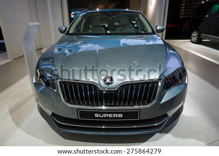 BERLIN - MAY 02, 2015: Showroom. Large family car Skoda Superb (Third generation). Produced since 2015.
