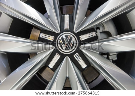 BERLIN - MAY 02, 2015: Showroom. Wheels and braking system of a popular light commercial vehicle Volkswagen Transporter (T5). Produced since 2010. - stock photo