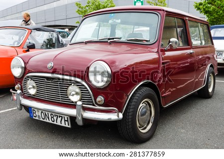 BERLIN - MAY 10, 2015: Small economy car Mini, made by the Industria de Montagem de Automoveis (Portugal), 1977 28th Berlin-Brandenburg Oldtimer Day