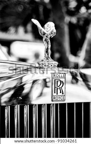 """BERLIN - MAY 28: The emblem of Rolls-Royce, Spirit of Ecstasy (Black and White), the exhibition """"125 car history - 125 years of history Kurfurstendamm"""", May 28, 2011 in Berlin, Germany - stock photo"""