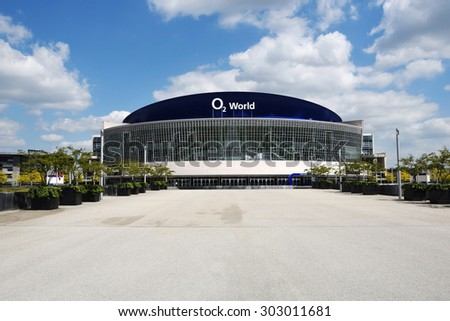 Berlin, May 22, 2015: The O2 World Arena facade on May 22, 2015 in Berlin, Germany. The O2 World Arena holds important sport and entertainment events.